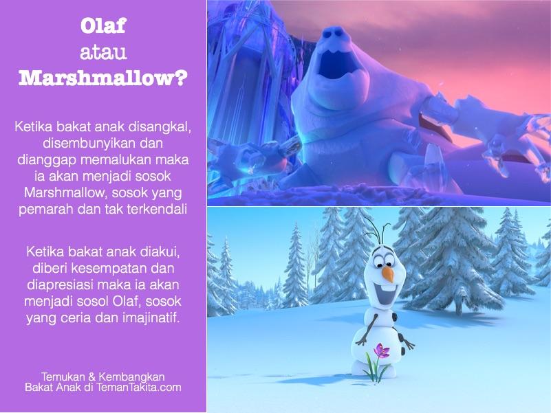 Olaf atau Marshmallow, frozen bakat anak